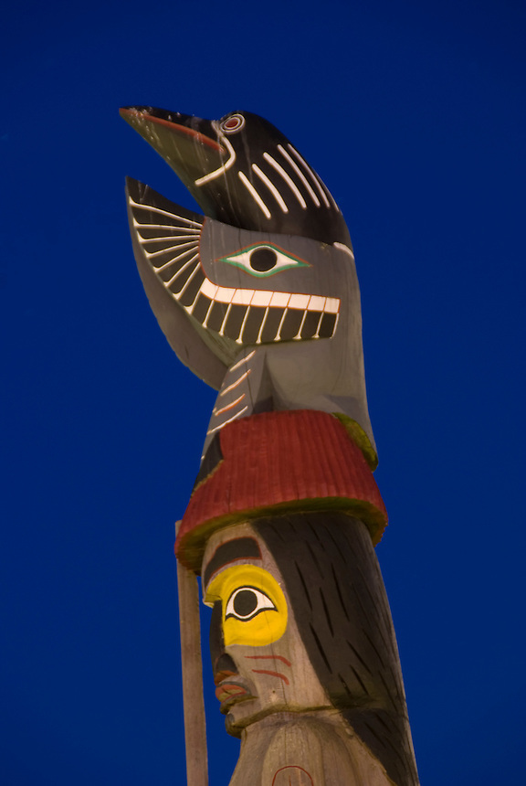 Totem Poles in downtown Victoria, British Columbia inner Harbour area.