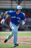 Toronto Blue Jays PK Morris (21) runs to first base during an Instructional League game against the Philadelphia Phillies on September 27, 2019 at Englebert Complex in Dunedin, Florida.  (Mike Janes/Four Seam Images)
