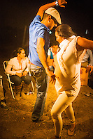 "In the days before the procession of the Virgin through the streets of El RocÌo, brotherhoods celebrate the pilgrimage in a camp in the middle of the night, musicians and singers assembled ""jaleo"" until dawn, like these improvised flamenco dances that emerge without being previously planned."