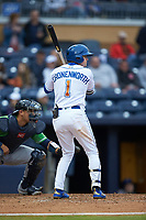 Jake Cronenworth (1) of the Durham Bulls at bat against the Gwinnett Braves at Durham Bulls Athletic Park on April 20, 2019 in Durham, North Carolina. The Bulls defeated the Braves 11-3 in game one of a double-header. (Brian Westerholt/Four Seam Images)