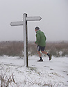 12/01/17<br />  <br /> A fell-runner wearing shorts braves snowy conditions as he tackles the Pennine Way over Ashop Moor near Glossop in the Derbyshire Peak District.<br /> <br /> All Rights Reserved F Stop Press Ltd. (0)1773 550665   www.fstoppress.com