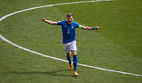 Captain Nicolò Armini (Lazio) of Italy U17 celebrates at full time during the UEFA Under-17 Euro Championship semi-final match between Italy and Belgium at the New York Stadium, Rotherham, England on 17 May 2018. Photo by Andy Rowland.