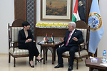 Palestinian President Mahmoud Abbas meets with Norwegian Foreign Minister Ine Marie Eriksen Soreide, at Abbas's headquarter in the West Bank city of Ramallah on March 10, 2019. Photo by Thaer Ganaim
