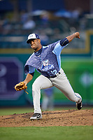 West Michigan Whitecaps relief pitcher Felix Viloria (12) delivers a pitch during a game against the Fort Wayne TinCaps on May 17, 2018 at Parkview Field in Fort Wayne, Indiana.  Fort Wayne defeated West Michigan 7-3.  (Mike Janes/Four Seam Images)