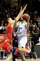 GRONINGEN -  Basketbal, Donar - New Heroes Den Bosch, Martiniplaza, Dutch Basketbal League, seizoen 2018-2019,  26-01-2019, Donar speler Shane Hammink met Den Bosch speler Roel Aarts