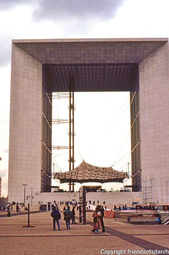 Paris: La Grande Arche, 360 ft. high. French architect Paul Andreu finished design. Pre-stressed concrete frame covered in glass and Carrara marble, 1989.  Photo '90.