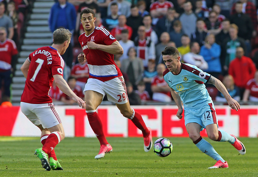 Burnley's Robbie Brady takes on Middlesbrough's Grant Leadbitter<br /> <br /> Photographer David Shipman/CameraSport<br /> <br /> The Premier League - Middlesbrough v Burnley - Saturday 8th April 2017 - Riverside Stadium - Middlesbrough<br /> <br /> World Copyright &copy; 2017 CameraSport. All rights reserved. 43 Linden Ave. Countesthorpe. Leicester. England. LE8 5PG - Tel: +44 (0) 116 277 4147 - admin@camerasport.com - www.camerasport.com