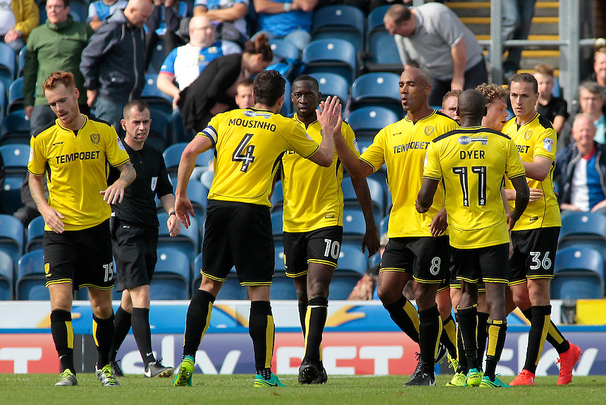 Burton Albion celebrate after Jackson Irvine makes it 1-1<br /> <br /> Photographer David Shipman/CameraSport<br /> <br /> Football - The EFL Sky Bet Championship - Blackburn Rovers v Burton Albion - Saturday 20 August 2016 - Ewood Park - Blackburn<br /> <br /> World Copyright &copy; 2016 CameraSport. All rights reserved. 43 Linden Ave. Countesthorpe. Leicester. England. LE8 5PG - Tel: +44 (0) 116 277 4147 - admin@camerasport.com - www.camerasport.com