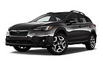 Stock pictures of low aggressive front three quarter view of a 2018 Subaru Crosstrek Limited CVT 5 Door SUV