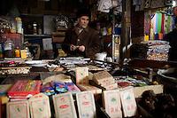Sellers display their goods at the Kashgar Sunday Market at the Grand Bazaar in Kashgar, Xinjiang, China.