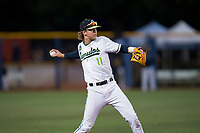 Hillsboro Hops shortstop LT Tolbert (11) throws to first base during a Northwest League game against the Salem-Keizer Volcanoes at Ron Tonkin Field on September 1, 2018 in Hillsboro, Oregon. The Salem-Keizer Volcanoes defeated the Hillsboro Hops by a score of 3-1. (Zachary Lucy/Four Seam Images)