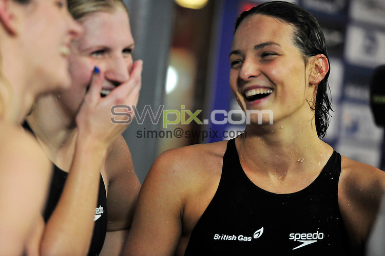PICTURE BY SIMON WILKINSON/SWPIX.COM...Swimming - British Gas Swimming Championships 2011, Day 3 - Manchester Aquatics Centre, Manchester, England - 07/03/11...Rebecca Adlington and Keri-Anne Payne after the Womens 200m Freestyle Semifinal.