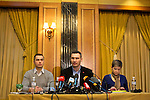 Mcc0053565 . Daily Telegraph<br /> <br /> Former boxer and presidential candidate Vitali Klitschko at a press conference in Donetsk in an attempt to try to ease the divisions within Ukraine . Later a planned pro Ukraine rally was cancelled as thousands of pro Russia supporters violently intimidated those brave enough to voice their support for the new western leaning Kiev government .<br /> <br /> Donetsk 9 March 2014