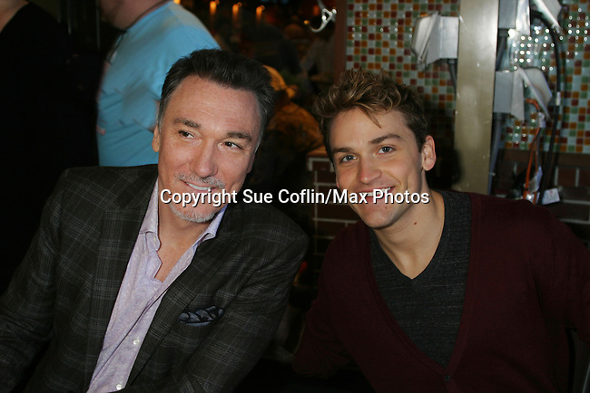 Patrick Page & Adam Chanler-Beret (Spiderman & Peter and the Starcatcher at B'way Cares event in Shubert Alley and Times Square, New York City, New York.  (Photo by Sue Coflin/Max Photos)