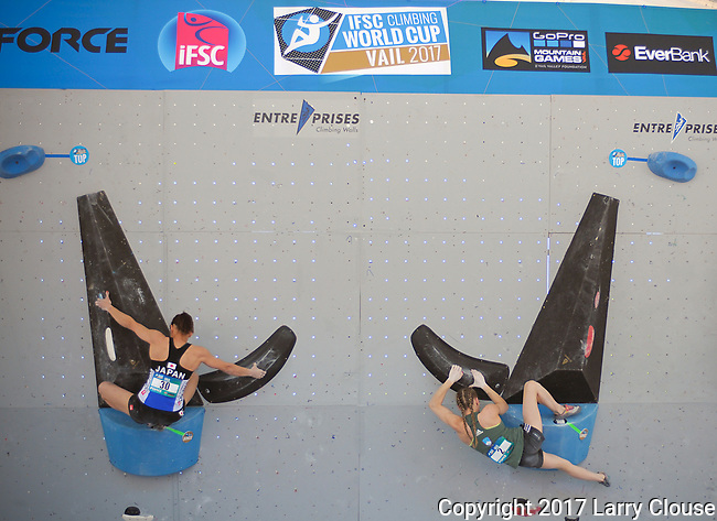 June 9, 2017 - Vail, Colorado, U.S. - Japan's, Akiyo Noguchi #30 and Slovenia's, Janja Garnbret #2, work through their first climbing problem in the IFSC Climbing World Cup during the GoPro Mountain Games, Vail, Colorado.  Adventure athletes from around the world meet in Vail, Colorado, June 8-11, for America's largest celebration of mountain sports, music, and lifestyle.