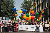 "29 June 2013, London, United Kingdom. Picture: The head of the parade. Pride London 2013 parade starts with the motto ""love (and marriage)""."