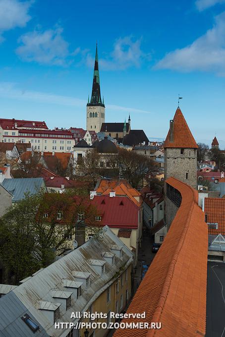 Tallinn skyline with city wall towers and Oleviste church