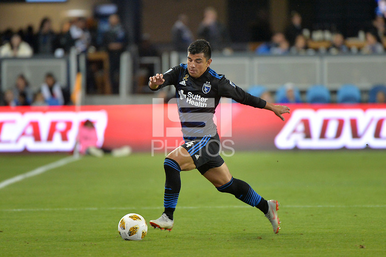 San Jose, CA - Saturday September 15, 2018: Nick Lima during a Major League Soccer (MLS) match between the San Jose Earthquakes and Sporting Kansas City at Avaya Stadium.
