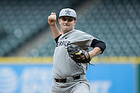 Vanderbilt Commodores starting pitcher Patrick Raby (29) in action against the Louisiana Ragin' Cajuns in game five of the 2018 Shriners Hospitals for Children College Classic at Minute Maid Park on March 3, 2018 in Houston, Texas.  The Rajin' Cajuns defeated the Commodores 3-0.  (Brian Westerholt/Four Seam Images)