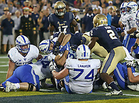 Annapolis, MD - October 7, 2017: Air Force Falcons running back Timothy McVey (33) scores a touchdown during the game between Air Force and Navy at  Navy-Marine Corps Memorial Stadium in Annapolis, MD.   (Photo by Elliott Brown/Media Images International)