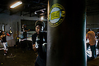 Boxer Travis J. Coardes in the Downtown Boxing gym in Detroit, Michigan.