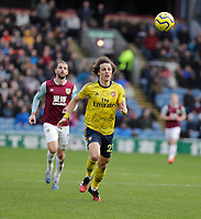 2nd February 2020; Turf Moor, Burnley, Lancashire, England; English Premier League Football, Burnley versus Arsenal; David Luiz of Arsenal watches the ball anxiously as it heads back to his keeper