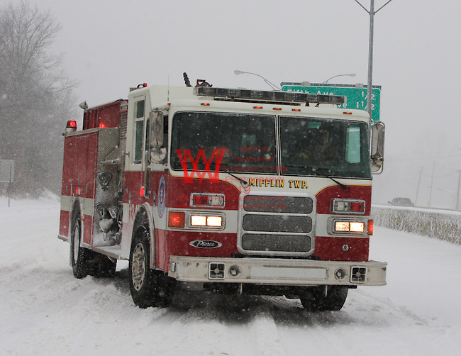 Mifflin Township Fire Department Helping out stranded motorists on Saturday March 8th, 2008. During the heaviest snowfall of the year.