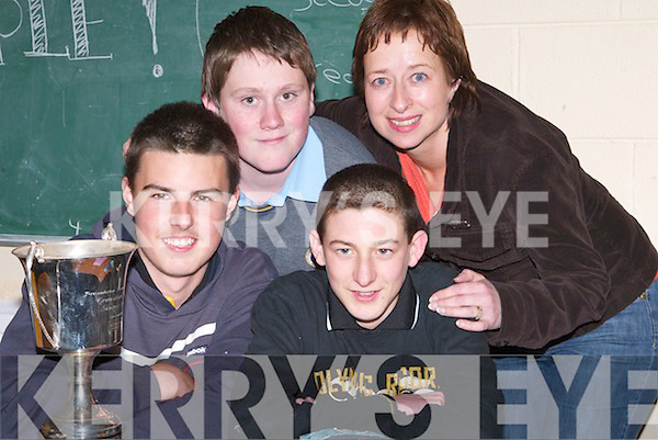QUIZ: Students from CBS, The Green, Tralee, who were overall winners in the Presentation Transition Year Students Science Quiz on Wednesday evening at the Presentation Secondary School, Tralee, sponsored by Kerry Group. Students: David Quirke, Daniel Culloty and Keelan O'Connor, with their teacher Geraldine O'Shea..