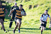 Liam Daniela makes a telling touchline run for Bombay. Counties Manukau Premier Club Rugby game between Bombay and Pukekohe, played at Bombay on Saturday June 30th 2018.<br /> Bombay won the game 24 - 14 after leading 24 - 0 at halftime.<br /> Bombay 24 - Sepuloni Taufa, Tulele Masoe, Chay Mackwood, Liam Daniela tries, Ki Anufe 2 conversions.<br /> Pukekohe Mitre 10 Mega 14 - Joshua Baverstock, Gregor Christie tries; Cody White 2 conversions.<br /> Photo by Richard Spranger.
