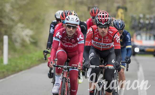 The early breakaway group with Bart De Clercq (BEL/Lotto-Soudal) at the helm<br /> <br /> 103rd Li&egrave;ge-Bastogne-Li&egrave;ge 2017 (1.UWT)<br /> One Day Race: Li&egrave;ge &rsaquo; Ans (258km)