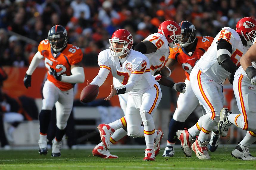 14 NOVEMBER 2010:  Kansas City Chiefs quarterback Matt Cassel  during a regular season National Football League game between the Kansas City Chiefs and the Denver Broncos at Invesco Field at Mile High in Denver, Colorado. The Broncos beat the Chiefs 49-29.