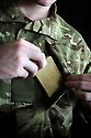 Private Curtis Welsby of Mercian Regiment, Marne Barracks, Catterick, Yorkshire who has a First World War New Testament which has been in his family for five generations and taken to five conflict zones. Photo by Clare Kendall.