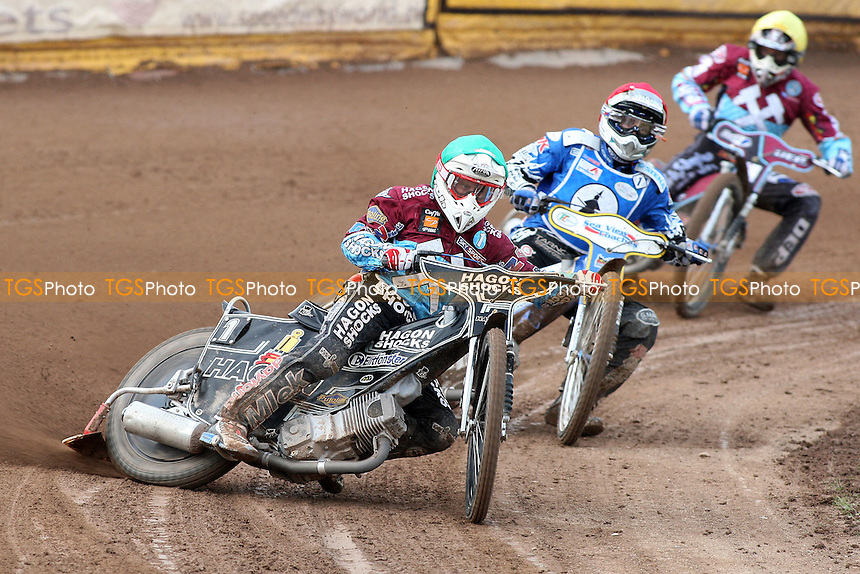 Heat 1 re-run: Lee Richardson (green), Bjarne Pedersen (red) and Kauko Nieminen - Ipswich Witches vs Lakeside Hammers - Sky Sports Elite League Speedway at Foxhall Stadium, Ipswich, Suffolk - 25/06/09- MANDATORY CREDIT: Gavin Ellis/TGSPHOTO - Self billing applies where appropriate - 0845 094 6026 - contact@tgsphoto.co.uk - NO UNPAID USE.