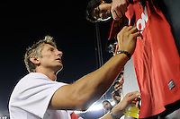 Edwin van der Sar signs autographs after the game. Manchester United (EPL) defeated the Philadelphia Union (MLS) 1-0 during an international friendly at Lincoln Financial Field in Philadelphia, PA, on July 21, 2010.