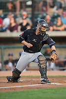 Missoula Osprey catcher Andy Yerzy (38) on defense against the Billings Mustangs at Dehler Park on August 21, 2017 in Billings, Montana.  The Osprey defeated the Mustangs 10-4.  (Brian Westerholt/Four Seam Images)
