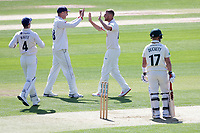 Jamie Porter of Essex celebrates taking the wicket of Ben Duckett during Essex CCC vs Nottinghamshire CCC, Specsavers County Championship Division 1 Cricket at The Cloudfm County Ground on 14th May 2019