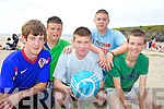 SOCCER FUN: Preparing for the new beach soccer tournament in Ballybunion on August 6th, front l-r: Tom Joy, Ian Mannix, Daniel Ellis. Back l-r: Jamie Julian, Kenneth Mannix.