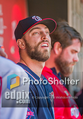 23 May 2015: Washington Nationals pitcher Matt Grace sits in the dugout prior to a game against the Philadelphia Phillies at Nationals Park in Washington, DC. The Phillies defeated the Nationals 8-1 in the second game of their 3-game weekend series. Mandatory Credit: Ed Wolfstein Photo *** RAW (NEF) Image File Available ***