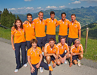 "Austria, Kitzbuhel, Juli 15, 2015, Tennis, Davis Cup, Dutch team on top of the ""Hahnenkam""  <br /> Photo: Tennisimages/Henk Koster"