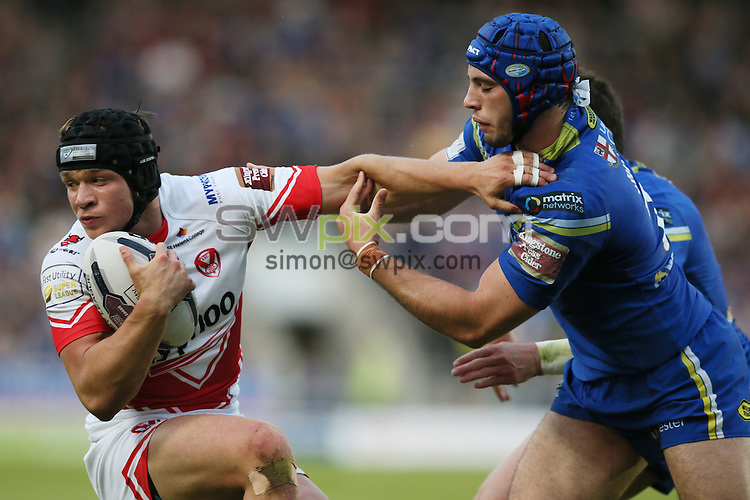 Picture by Paul Currie/SWpix.com - 03/06/2016 - Rugby League - First Utility Super League - St Helens v Warrington Wolves - Langtree Park, St Helens, England - St Helens Jonny Lomax and Warrington Wolves' Benjamin Jullien