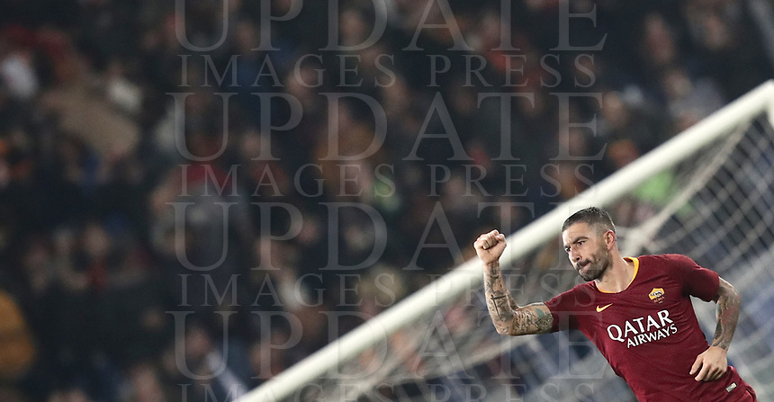 Football, Serie A: AS Roma - InterMilan, Olympic stadium, Rome, December 02, 2018. <br /> Roma's Aleksandar Kolarov celebrates after scoring  during the Italian Serie A football match between Roma and Inter at Rome's Olympic stadium, on December 02, 2018.<br /> UPDATE IMAGES PRESS/Isabella Bonotto