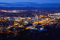 View of the Roanoke, Virginia night skyline and Allegheny Mountains from Mill Mountain