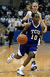 02 February 2008:  TCU guard, Moneka Knight (10), during the Horned Frogs 67-49 Mountain West Conference victory over the Air Force Falcons at Clune Arena, Air Force Academy, Colorado Springs, Colorado.