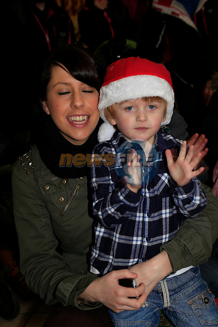 Charlie Shields Doyle and Lisa Marie Shields Santa arriving at the Drogheda Town centre.<br /> Picture: Fran Caffrey www.newsfile.ie