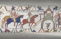 Bayeux Tapestry scene 22:  Duke William and Harold ride to Bayeux after defeating Duke of Britany.