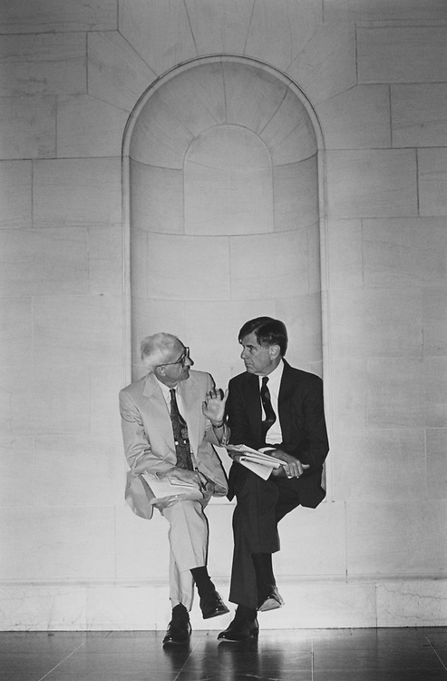 Spencer Rich of Washington Post interviewing Rep. Pete Stark, D-Calif., in alcove around corner from Ways and Means Committee Room on June 30, 1994. (Photo by Laura Patterson/CQ Roll Call)