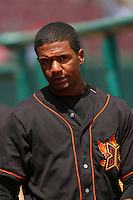May 26 2008:  Julio Borbon of the Bakersfield Blaze during game against the Inland Empire 66'ers at Arrowhead Credit Union Park in San Bernardino,CA.  Photo by Larry Goren/Four Seam Images