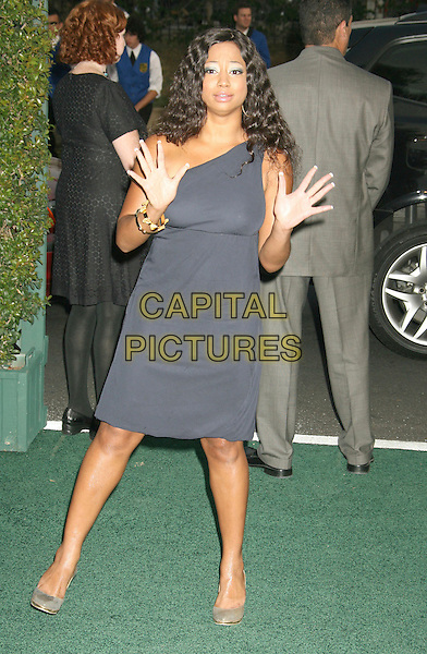 MONIQUUE COLEMAN.The 17th Annual Environmental Media Awards held at the Ebell Club, Los Angeles, California, USA..October 24th, 2007.full length one shoulder dress hands palms funny blue grey gray.CAP/ADM/RE.©Russ Elliot/AdMedia/Capital Pictures.