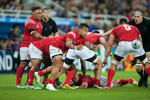 09.10.2015. St James Park, Newcastle, England. Rugby World Cup. New Zealand versus Tonga. Tonga scrum-half Sonatane Takulua passes the ball.