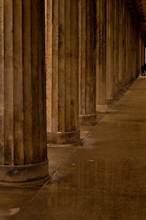 Columns in Berlin with wet stone